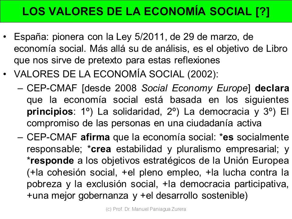 LOS VALORES DE LA ECONOMÍA SOCIAL [ ]